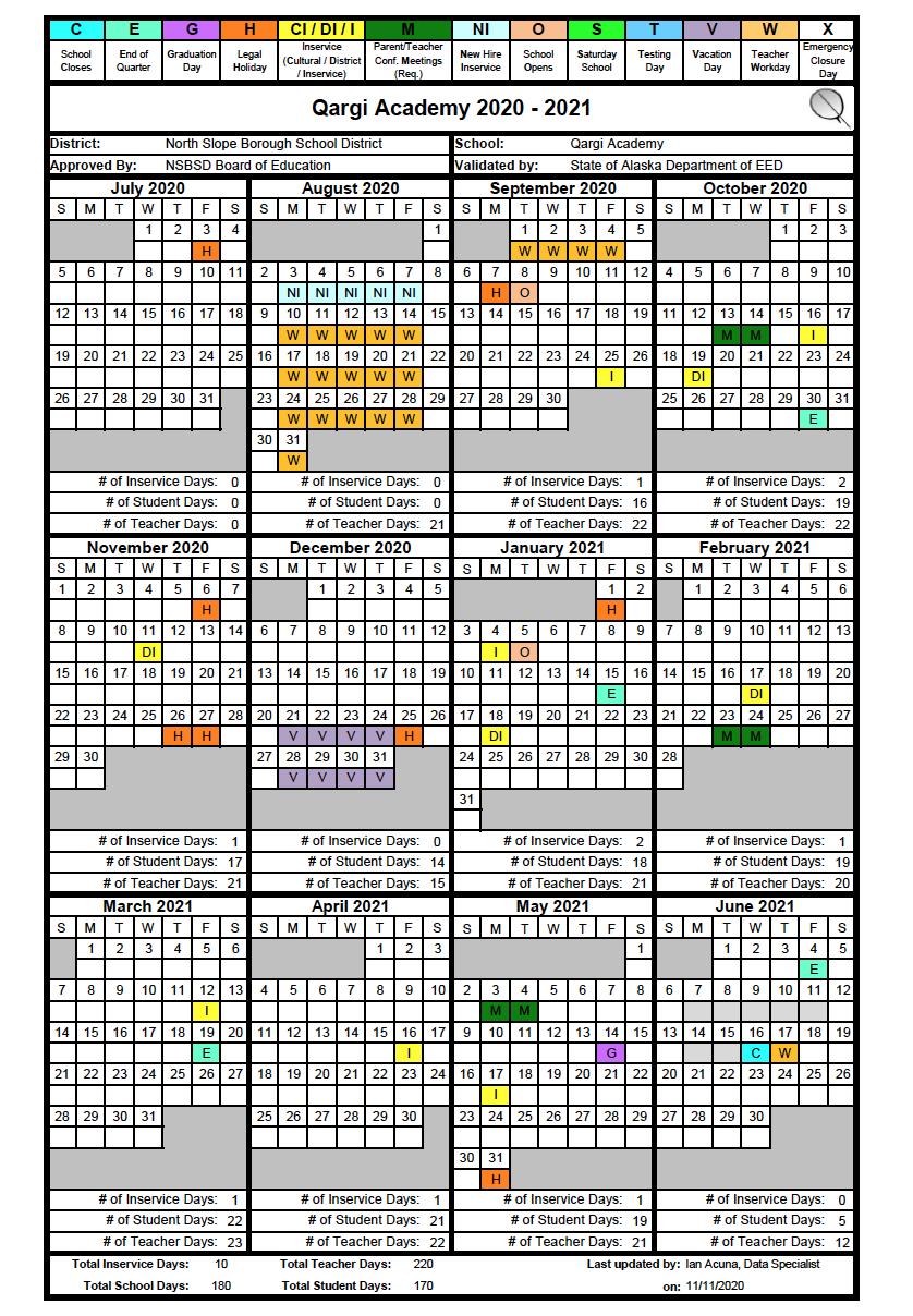 Qargi Academy 2020-21 Schedule